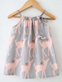 Baby Girl Summer DressDeer Lovegrey and pink by ChasingMini