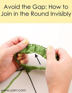 How to Join in the Round Invisibly To join in the round invisibly, cast on one more stitch than your pattern calls for. Then, when you're ready to join in the round, slip this extra stitch to the left needle. Using the working yarn and the yarn tail held Love Knitting, Knitting Stitches, Knitting Yarn, Knitting Needles, Yarn Tail, How To Purl Knit, Knit Or Crochet, Knitting Projects, Knitting Tutorials
