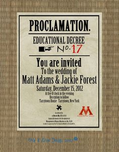 Harry potter wedding invites... I'm just saying.. it's a thing....I'm so freaking doing this!!!!!