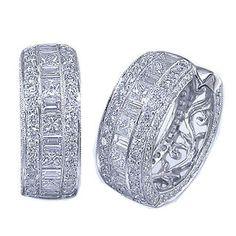 JB Star #Platinum & Mixed Cut #Diamond #Hoop #Earrings