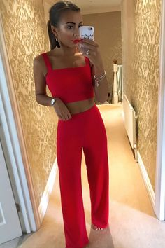 Red [hs] Crop Top and Trousers Co-ord Set - Kimmy in 2019 City Outfits, Prom Outfits, Crop Top Outfits, Night Outfits, Classy Outfits, Fashion Outfits, Red Trousers Outfit, Trouser Outfits, Crop Top Elegante