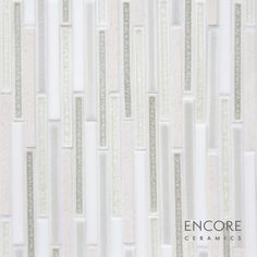 Encore Ceramics | 1/2 x 6 Broken Joint mosaic hand-glazed in Limestone 111 blend: Limestone with Bianca matte, Silver crackle, Glacier jewel, and Shadow quartz glazes | Sustainably made in Oregon Mosaic Patterns, Oregon, Jewel, Quartz, Ceramics, Contemporary, Silver, How To Make, Ceramica
