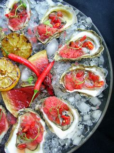 Oysters with grilled watermelon and red pepper