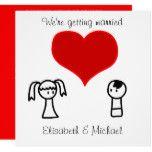 Cute modern fun doodle bride groom wedding card