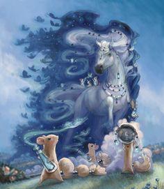 The witch horse for Bella Sara. #Card #art #mice #magic