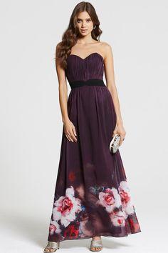 Purple Rose Print Bandeau Maxi Dress - from Little Mistress UK Strapless Dress Formal, Formal Dresses, Dress Clothes For Women, Bridesmaid Dresses, Wedding Dresses, Purple Roses, Floral Maxi Dress, Designer Dresses, Purple Maxi