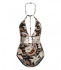 Zimmerman Henna Printed Halterneck Swimsuit