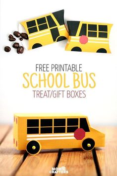 Grab these free printable school bus treat boxes for free! They include pillow box and a 3D bus that also makes a great toy. Perfect for back to school parties, transportation themed birthday party, or even as a gift box to thank a bus driver before schoo