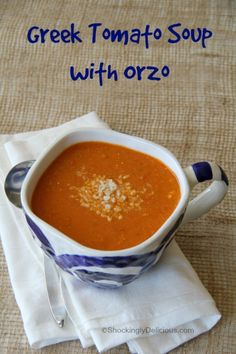 Greek Tomato Soup with Orzo | ShockinglyDelicious.com  #SecretRecipeClub #soup #tomatoes #orzo #healthy #recipe #tomatosoup
