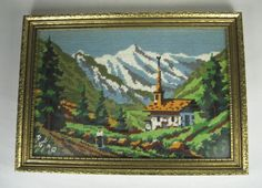 Crewel Stitch Framed Embroidery Completed Handmade Landscape Alps 14.75 x 10.5  #Unbranded