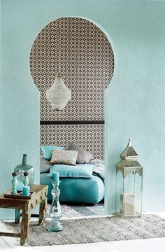 Light turquoise palette in a lovely Moroccan dwelling.