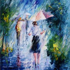 Woman With Umbrella Painting Art On Canvas By Leonid Afremov