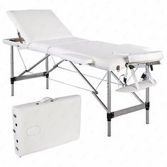 3 Fold Portable Massage Table Facial SPA Bed Tattoo w/Carry Case Aluminum White
