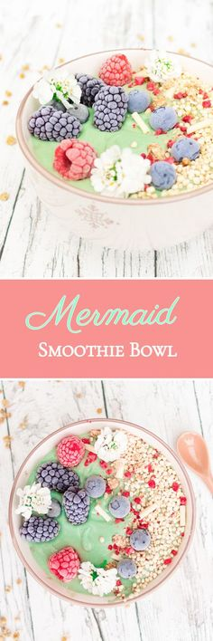 Mermaid Smoothie Bowl - with the power of Spirulin . Mermaid Smoothie Bowl – with the power of spirulina algae, avocado and a hint of coconut Smoothie Bowl, Smoothie Breakfast, Breakfast Bowls, Smoothie Mixer, Power Smoothie, Avocado Breakfast, Smoothie Drinks, Smoothies Vegan, Fruit Smoothies
