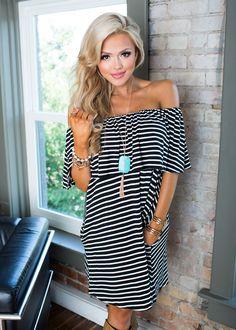 Off the Shoulder Striped Dress, Short Dress, Shopmvb, Women's Boutique, Online Shopping, Fashion, Style, Modern Vintage Boutique