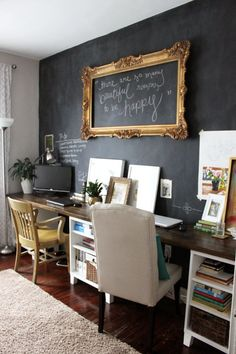 Office. Love the frame on the chalk wall | Icing On The Cake Blog