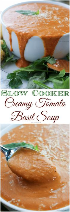 Slow Cooker Creamy Tomato Basil Soup - Rich and creamy, full of flavor, and cooked in your slow cooker!
