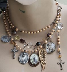 rosary intact on necklace - Johnny Angel Antique Rosary Necklace Sterling