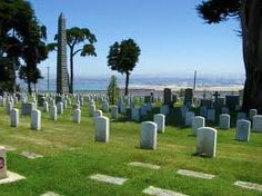 Fort Rosecrans National Cemetary on Cabrillo Point~ One of the most beautiful National Cemeteries ever. Stunning views of San Diego bay. Winding roads to the cemetery. A lovely place for Jean.