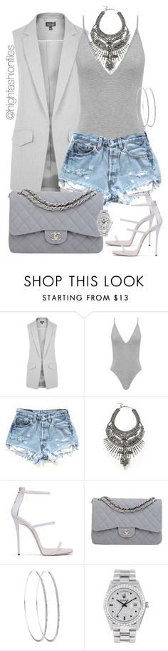 """No Grey Area"" by highfashionfiles ❤ liked on Polyvore featuring Topshop, DYLANLEX, Chanel and Rolex"