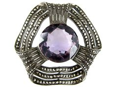 Theodor Fahrner Silver & Amethyst Brooch - The Antique Jewellery Company