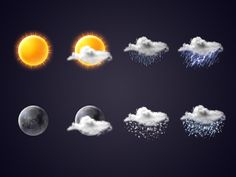 Weather icon set designed by Igor Koshelev. Connect with them on Dribbble; 2d Design, Icon Design, Graphic Design, Website Icons, Weather Icons, Icon Pack, Interactive Design, App Icon, Icon Set