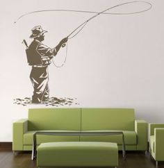 hunting vinyl wall art | 156122442_fly-fishing-wall-art-sticker-casting-fisherman-decor-.jpg