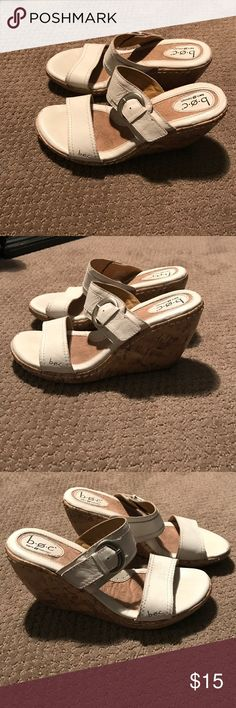 b.o.c. Wedge shoes size 9 b.o.c. White wedge shoes size 9 in good condition. Slight wear but in good condition. There is a little sign of wear on the front of the left shoe as shown in the pictures. b.o.c. Shoes Wedges