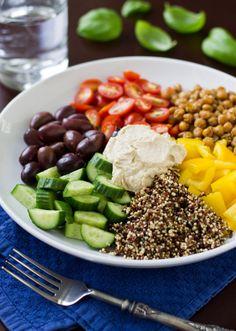 Mediterranean Vegan Bowl with roasted chickpeas, kalamata olives, quinoa, hummus, arugula - one of my favorites.