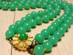 Vintage Green Glass Bead Double Strand Necklace by SomeLittleStars, $24.00