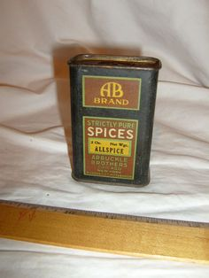 ANTIQUE ARBUCKLE ALLSPICE SPICE TIN LITHO CAN AB BRAND VINTAGE COUNTRY STORE OLD #ABBRAND