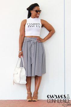 gingham skirt, gingham midi skirt, black and white midi skirt, midi skirt and crop top outfi