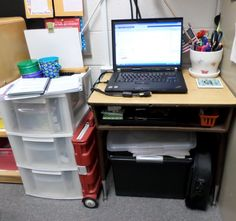 Still undecided whether to get rid of your desk or not? Need more room for your learning in the classroom? Here are some tips on how to stay organized after you get rid of the teacher's desk! School Locker Organization, Classroom Organisation, Classroom Management, Organization Ideas, Organizing, Portable Classroom, Classroom Desk, Teacher Page, Teacher Blogs