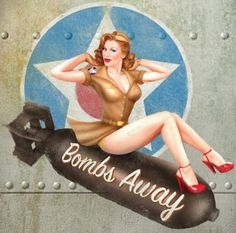 Pin up art that is on a WWII plane