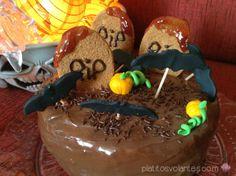 Pastel para Halloween 2013: tumbas y murciélagos