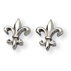 Polished Titanium Fleur De Lis Stud Post Earrings Available Exclusively at Gemologica.com