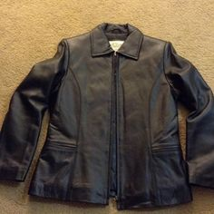 Black Leather Jacket, BNWOT, size Small Black Leather Jacket, BNWOT, size Small, Brand new never worn, has front zipper closure and slit pockets in the front, classic style, Super soft leather! Jackets & Coats Blazers