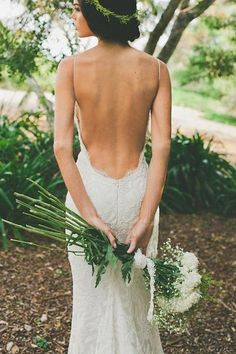 Elegant V-neck Backless White Wedding Dress with Sweep Train-Pgmdress