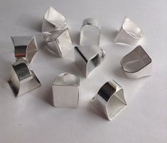 10 Brass Plated Square Pad Ring bases / by GirlySuppliesDeJaVu, $15.00