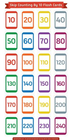 Free printable skip counting by 10 flash cards. Download them in PDF format at http://flashcardfox.com/download/skip-counting-by-10-flash-cards/