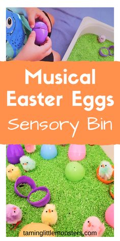 Use this fun and easy indoor Easter sensory bin for kids to make DIY musical instruments. Teach your toddlers and preschoolers fine motor skills, color matching and rhythm while having a sing-a-long. Sensory Activities Toddlers, Indoor Activities For Kids, Easter Activities, Toddler Preschool, Preschool Activities, Sensory Play, Preschool Education, Teaching Kindergarten, Early Education