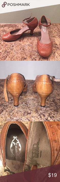 Tan heels Hush Puppies, tan, size 7.5 leather buckle shoe. I have never used these but they have storage wear. They are super cute! Hush Puppies Shoes Heels