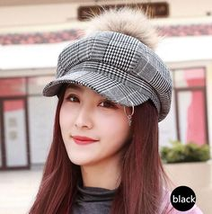 Plaid newsboy cap with metal ring pom pom winter beret hats for women