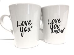 Latte mug couple set of 2 love you & love you more mug set perfect couple gift wedding gift, housewarming Gift. $31.00, via Etsy.