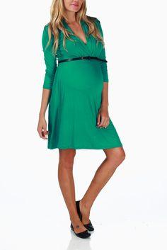 Green-3/4-Sleeve-Belted-Maternity/Nursing-Dress