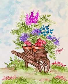 Art Impressions Rubber Stamps: Wonderful Watercolor. Handmade card with wood cart, flowers, foliage, grass