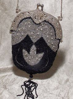 Vintage Victorian Silver Glass Beaded Purse by TheEclecticDiva, $155.00