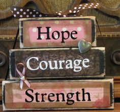 """Breast Cancer Awareness, Breast Cancer Gift, Hope, Courage, Strength Word Stacker Inspirational Sign, measures 4.5"""" x 5.5"""""""