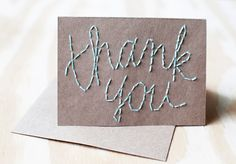 embroidered thank you note on kraft paper by etsy seller blueeyebrowneye
