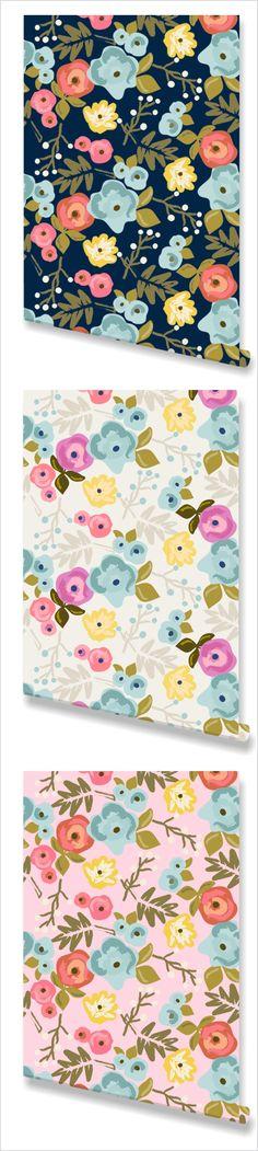 """""""Bloom"""" Wallpaper. Bedrooms, accent walls, or a feminine office. floral wallpaper, bloom wallpaper, bedroom wallpaper, bathroom wallpaper, powder room wallpaper, girl's room wallpaper, nursery wallpaper"""
